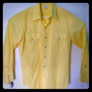 Western Shirt Malco Modes VTG Yellow 16/33